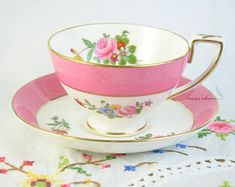 Crown Staffordshire pink cup and saucer, hand painted tea cup