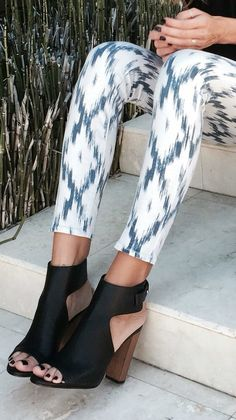 Ikat pants & black mules.