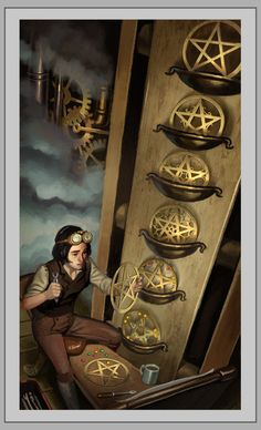 Eight_of_Pentacles - diligence, industry, hard work from the Steampunk Tarot deck