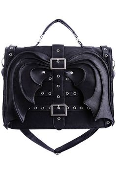 Black Bat Wings Hand Bag Purse Gothic Satchel Briefcase