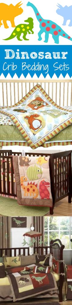 Dinosaur Crib Bedding Sets for the baby nursery.  #baby