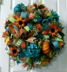 CUSTOM ORDER for Kay, Turquoise-Orange Hydrangea Pumpkin Wreath