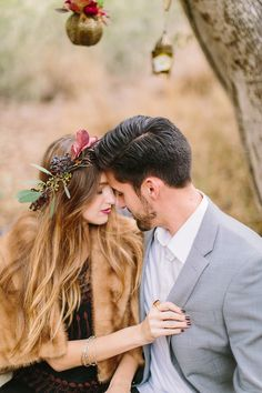 wear a fresh floral halo for your engagement session - photo by Danielle Poff http://ruffledblog.com/bohemian-winter-glam-inspiration #receptions #boho