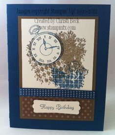 Additional Info Keywords Masculine Birthday Card Mens Stamps Clockworks Paper Midnight Muse