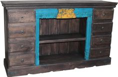 With two open middle shelves this piece is ideal for a TV stand, allowing the components to sit on either shelf for easy remote signal access while the 8 drawers can house (or hide) many items that need a designated spot.