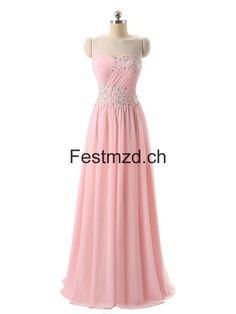 Rosa Herzausschnitt Perlen Chiffon Abendkleider
