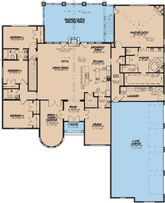 European Style House Plan - 4 Beds 3.50 Baths 3713 Sq/Ft Plan #923-2 Floor Plan - Main Floor Plan - Houseplans.com