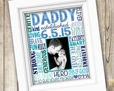 New Dad Personalized Gift ~ First Time Dad Gift ~ New Daddy Printable Custom Photo Subway Art ~ Digital Image ~ Dad and Baby Photo Poster by SubwayStyle on Etsy