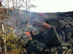 New overflight video shows a slower but very active lava flow, still .6 miles from Pahoa Marketplace.