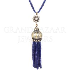 Long Beaded Gemstone Tassel Necklace Designer Turkish Jewelry Handmade by Jewelers & Artisans of the Grand Bazaar in Istanbul Turkey GBJ1455 Ethnic Jewelry Online Shop GrandBazaarJewelers.com