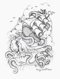 Octopus Sinking Ship Tattoo Design by ~kirstynoelledavies on deviantART