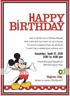 OSHEA DESIGNS - Customized Paper Goodies: Mickey Mouse Birthday Invitations