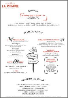 La carte du brunch de notre restaurant parisiens dans le 9ème