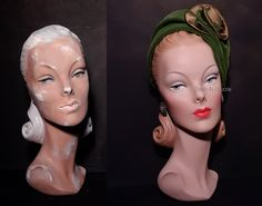Restored 40's millinery bust before & after