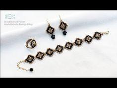 Linked Diamond Pattern Beaded Bracelet Earrings & Ring. Beads Jewelry Making. Beading Tutorials. - YouTube Fused Glass Jewelry, Beaded Jewelry, Jewellery, Beaded Bracelets Tutorial, Beading Tutorials, Diamond Pattern, Ring Earrings, Beaded Embroidery, Diamond Pendant