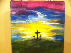 EASTER'S EXCITING EXPECTATIONS - DdO:) MOST POPULAR RE-PINS -  http://www.pinterest.com/DianaDeeOsborne/easters-exciting-expectations/ - Easter art does not have to be large or fancy to share the excitement of the holyday.  4x4 inch canvas painted by Donna Vickers (orig pinner), probably acrylic paints- show canvas texture. Lovely Easter egg colors. Simple theme inspires Sunday School students at any age, using inexpensive materials. For fun, experiment w sprinkling salt crystals on wet…