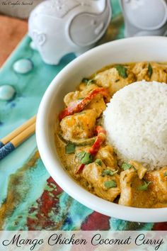 Mango Chicken Coconut Curry ~ A little bit spicy and creamy, and a whole lotta delicious this Thai-inspired curry is loaded with chicken and mango Mango Chicken Curry, Mango Curry, Thai Coconut Curry Chicken, Thai Mango, Indian Food Recipes, Asian Recipes, Curry Dishes, Indian Dishes, Mets