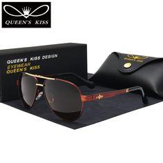 959df31e4 Aliexpress.com : Buy QUEENS KISS HD Polarized Men Sunglasses brand designer  Retro pilot Sun Glasses Accessories driving goggles oculos de sol shades  from ...