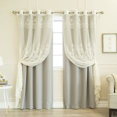 Aurora Home Mix & Match Agatha Sheer and Blackout 4 Piece Curtain Set (96 Inches - Light Pink)(Polyester, Damask)