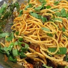 Spaghetti with ancho chilli and cherry tomato sauce I Ottolenghi recipes Vegetarian Rice Noodle Recipes, Pasta Recipes, Vegan Recipes, Cherry Tomato Pasta Sauce, Cherry Tomatoes, Ottolenghi Recipes, Yotam Ottolenghi, Pasta Types, Brunch