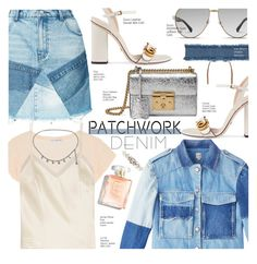 """""""Denim Patchwork!"""" by voguefashion101 ❤ liked on Polyvore featuring PRPS, James Perse, Halfpenny London, Chanel, Gucci, 8 Other Reasons and Dolce&Gabbana"""