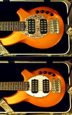 Music Man Orange Bongo 5 String Bass with White and Firemist Pickguards