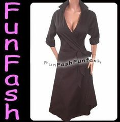 WOMENS BLACK WRAP DRESS clothes-n-accessories fashion