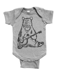 Banjo Bear Baby Boy One Piece - Funny Baby One Piece - Hipster Baby Boy Clothes - Infant Boy Outfits - Funny Baby Clothes - Jumper Creeper Baby Boy Clothes Hipster, Hipster Babies, Funny Baby Clothes, Funny Babies, Baby Boy Outfits, Cute Babies, Turtle Gifts, One Piece Funny, Baby Bodysuit