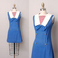 1960s Dress - Blue Sailor