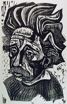 Einstein by Irving Amen 1955 Woodcut