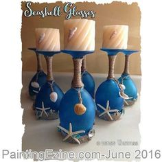 Beach Crafts – Page 2 Glass Bottle Crafts, Bottle Art, Seashell Crafts, Beach Crafts, Diy Crafts, Cadeau Parents, Wine Glass Candle Holder, Wine Craft, Creation Deco