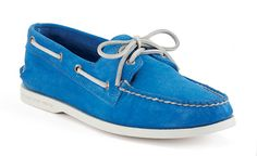 sperry authentic original suede boat shoes in blue for the spring season. bright hues were all over the new york fashion week runways, and this is the perfect application. now if we could just add the yacht and st. tropez vacation...
