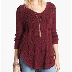 Free people sweater Good shape, berry color Free People Sweaters
