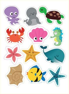 Under the sea cake toppers Sea creatures printable topper Nautical cupcake toppers Sea animals baby birthday Under the sea party - DIGITAL Unter dem Mermaid Birthday, Baby Birthday, Birthday Parties, Birthday Cake, Summer Crafts, Crafts For Kids, Nautical Cupcake, Nautical Party, Decoration Creche