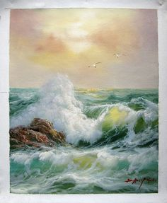 by - Seascape - Seawave - - Museum Quality Oil Painting on Canvas Art by Artseasy on Etsy Seascape Paintings, Oil Painting Abstract, Landscape Paintings, Oil Paintings, Indian Paintings, Watercolor Painting, Ocean Pictures, Nature Pictures, Ocean Art