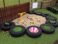 A huge collection of ideas and inspiration for reusing tyres in outdoor play creatively & safely. Save money on outdoor play equipment by upcycling! Project & safety tips included for early childhood educators and teachers. Outdoor Learning Spaces, Kids Outdoor Play, Outdoor Play Spaces, Kids Play Area, Backyard For Kids, Garden Kids, Outdoor Games, Eyfs Outdoor Area Ideas, Family Garden
