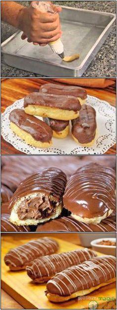 Bomba de Chocolate #BombadeChocolate #Receitatodahora #BombadeChocolatedepadaria I Love Food, Good Food, Yummy Food, Candy Drinks, Best Sweets, Food Wishes, Portuguese Recipes, How Sweet Eats, Dessert Recipes