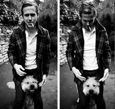Ryan Gosling & his dog. Don't even care that he smokes. via cannibals prefer those who have no spines