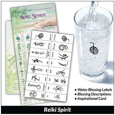 These Reiki water blessing labels use the mystical sacred Reiki symbols and definitions for healing with the purest form of love.