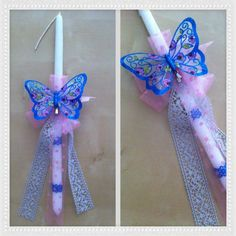 Easter Candle butterfly on pink flower! By Stella Handicrafts! Handicraft, Christening, Pink Flowers, Easter Candle, Christmas Crafts, Butterfly, Candles, Palm, Sunday