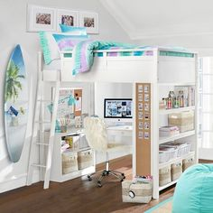 Sturdy, stylish and fun to decorate, our GREENGUARD Gold Certified Sleep + Study® Loft Bed has everything you need in one charming package. It features a loft bed over a compact desk with ample storage space, including shelving on both sid
