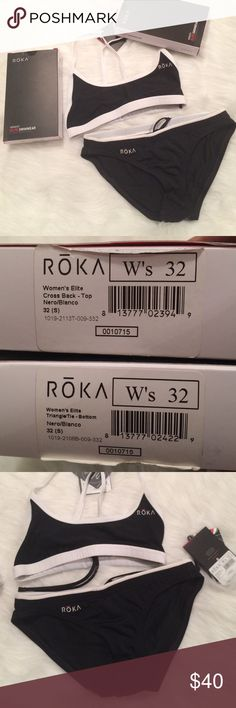 ROKA Elite Swimwear NWT👙 This is a 2 piece, black and white, swimwear by ROKA. They are both NWT. These are usually sold individually but want to sell as a set. This is a size 32 (small). The top is cross back and the bottoms are triangle tie. There are ties on the bottoms and inside the top (under the bottom front band) to tighten. Premium italian material..shape retention fabric. Chlorine proof and UPF 50+.  2 way stretch fabric and liner. Please ask any and all questions before…