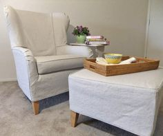 """A summer slipcover made from """"Bonanza"""", a cotton and linen basketweave fabric from slipcoverfabric.com."""