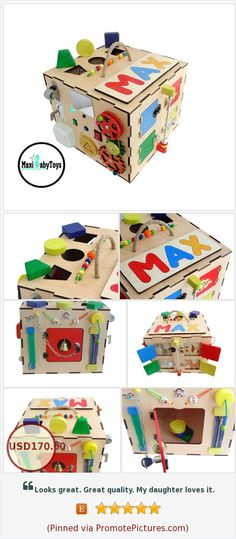 Activity box Activity center Sensory box Busy cube Busy board Personalized Toddler toy box learning toy baby boy toy Shape sorting toy https://www.etsy.com/MaxiBabyToys/listing/593090115/activity-box-activity-center-sensory-box?ref=shop_home_active_3  (Pinned using https://PromotePictures.com)