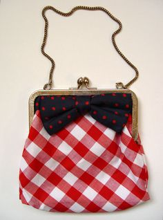 red checkered teeny purse..sweet