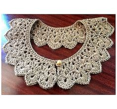 Taupe crocheted collar to wear over sweaters.  Love it!