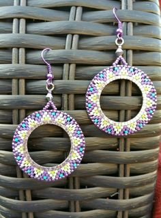 Native American Earrings. Purple Ivory Turquoise and by Puckho