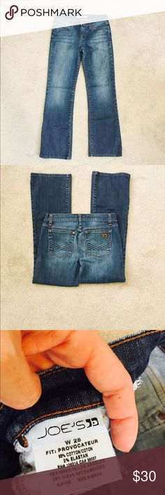 "Joe's medium-wash ""Provocateur"" jeans - size 28 Bootcut, faded from waist to knee with whisker detail.  Comfy and soft.  98% cotton, 2% elastane.  Rise 9"", inseam 30"". No trades! Offers are always considered!  Ask me any questions you have, thanks! Joe's Jeans Jeans Boot Cut"
