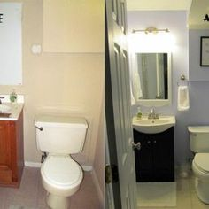 Feminime Small Bathroom Paint Remodeling Idea With Sweet Purple Wall Color And Single Vanity Sink Mirror Pretty Frame Also Three Lamps