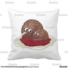 Match your decor - Add background color to this Cute Meatball Eating Spaghetti Throw Pillow -
